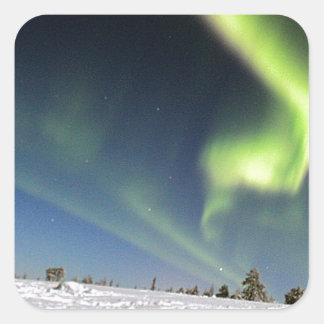 Aurora Borealis green Northern lights snowscape Square Sticker
