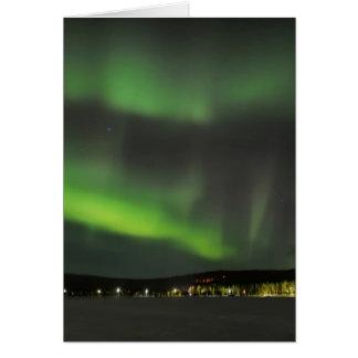 Aurora borealis in the sky greeting card