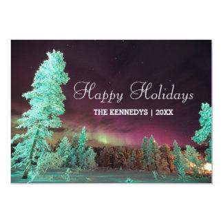 Aurora borealis - Lime Green Trees in Finland 13 Cm X 18 Cm Invitation Card