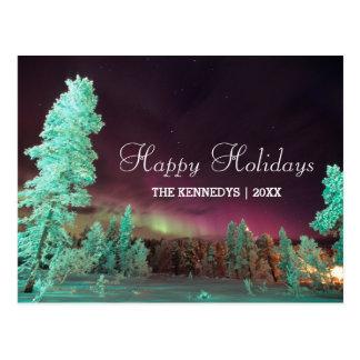 Aurora borealis - Lime Green Trees in Finland Postcard