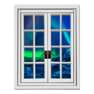 Aurora Borealis Northern Lights Fake Window Art Poster