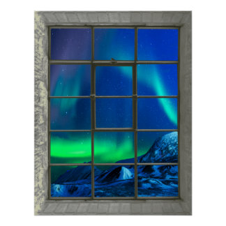 Aurora Borealis Northern Lights Faux Window Poster