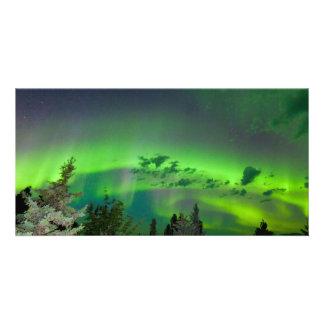 Aurora borealis over boreal forest photo card template