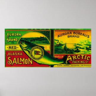 Aurora Borealis Salmon Can LabelKarluk, AK Poster