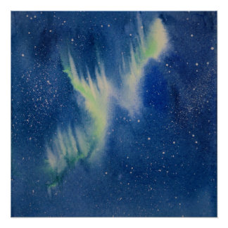 Aurora Borealis watercolor painting Poster