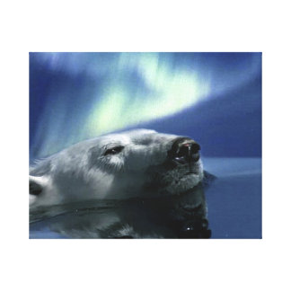 """""""AURORA DREAMING"""" Polar Bear Print Canvas Print"""