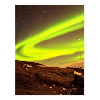 Aurora lights beautiful nature scenery postcard