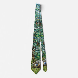 AURORA / MAGIC TREE AND OWL Green Leaves Tie