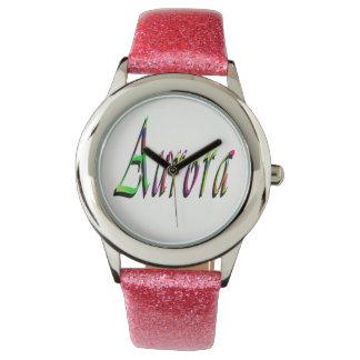 Aurora, Name, Logo, Girls Pink Glitter Watch. Watches
