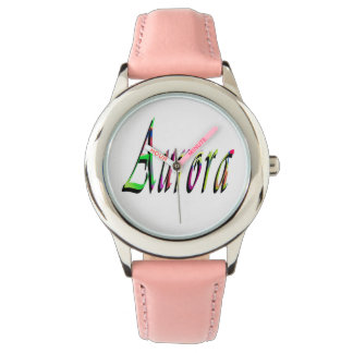 Aurora, Name, Logo, Girls Pink Leather Watch. Watch