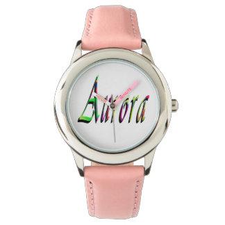Aurora, Name, Logo, Girls Pink Leather Watch. Wrist Watch