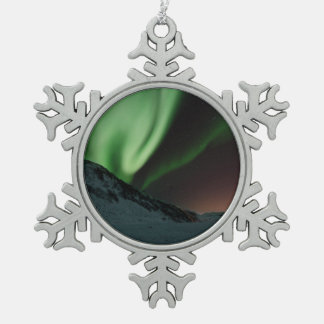 Aurora Northern Lights Norway Snowflake Pewter Christmas Ornament