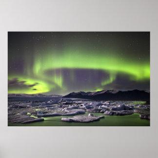 Aurora over a glacial lagoon poster