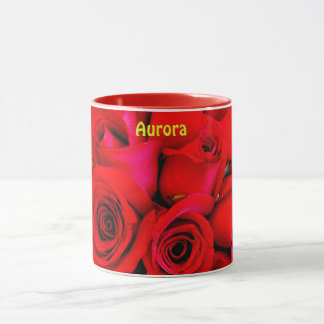 AURORA ~ Personalized Red Rose Buds Photograph ~ Mug