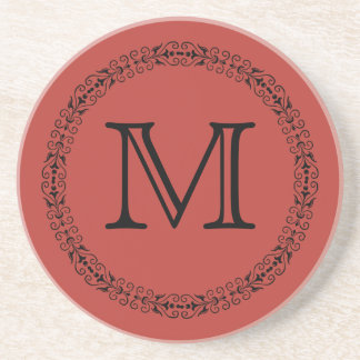 Aurora Red Warm Dynamic Solid Color Monogram Coaster
