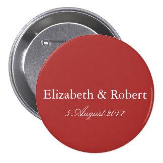 Aurora Red with White Wedding Detail 7.5 Cm Round Badge