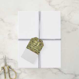 Auscam green camouflage gift tags