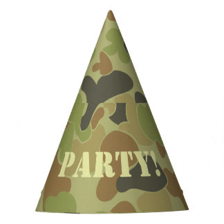 Auscam green camouflage party hat