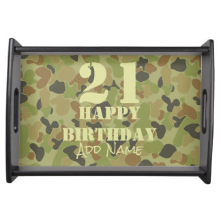 Auscam green camouflage serving tray