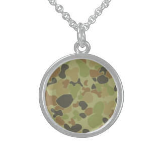 Auscam green camouflage sterling silver necklace