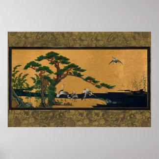 Auspicious pine, bamboo, plum, Crane, and turtles