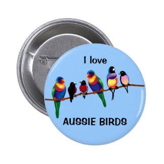 Aussie birds 6 cm round badge