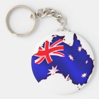 aussie flag basic round button key ring
