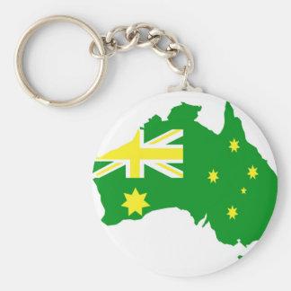 Aussie Flag Map Basic Round Button Key Ring