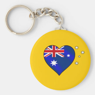 Aussie heart of Australia Aussie Oi Love Basic Round Button Key Ring