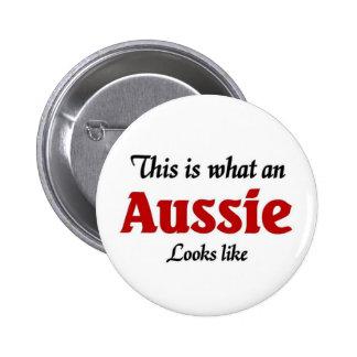 Aussie looks like 6 cm round badge
