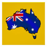 Aussie Map of Australia Oz flag gifts Posters