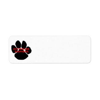 aussie name paw return address label