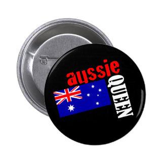 Aussie Queen & Flag 6 Cm Round Badge