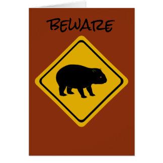 Aussie road sign wombat card