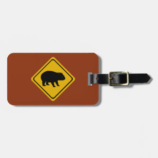 Aussie road sign - wombat -electronics luggage tag