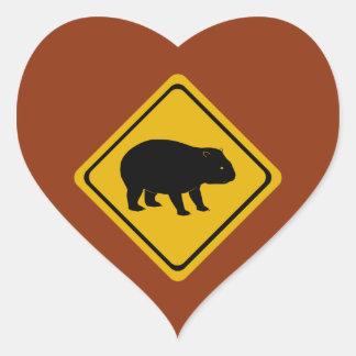 Aussie road sign wombat heart sticker