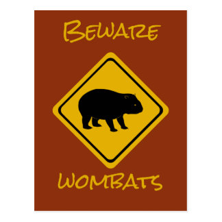 Aussie road sign wombat postcard