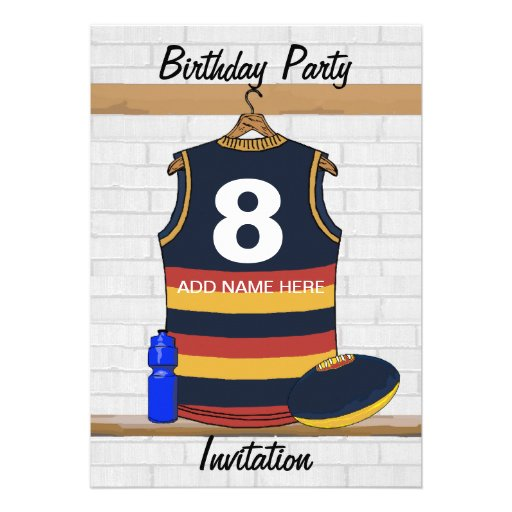 Aussie Rules Jersey Birthday party invitations