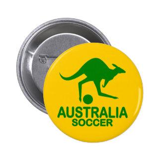 Aussie soccer green 6 cm round badge