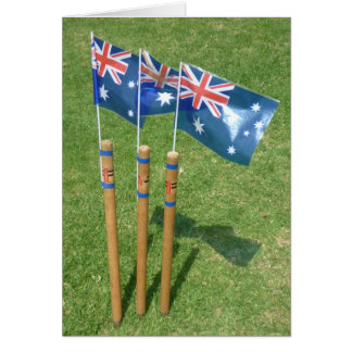 aussie stump flags greeting card