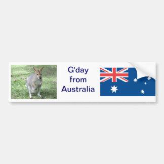 Aussie Wallaby G day Bumper Sticker
