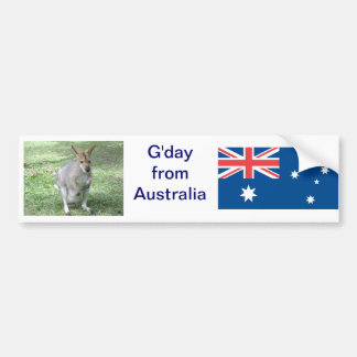 Aussie Wallaby G'day Bumper Sticker
