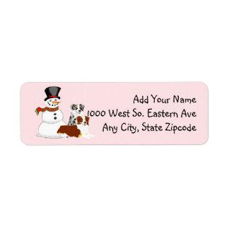 Aussies with Snowman Return Address Label