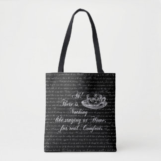 Austen Pride Text Black Staying HomeTote Bag