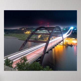 Austin 360 Pennybacker Bridge At Night Poster