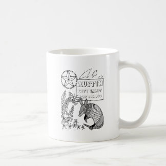 Austin Armadillo Line Art Design Coffee Mug