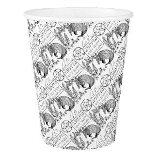 Austin Armadillo Line Art Design Paper Cup