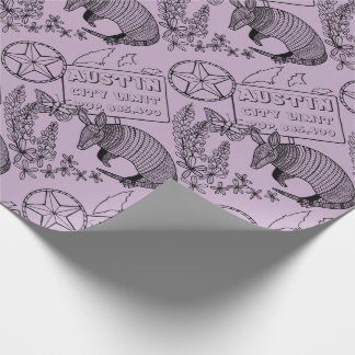 Austin Armadillo Line Art Design Wrapping Paper