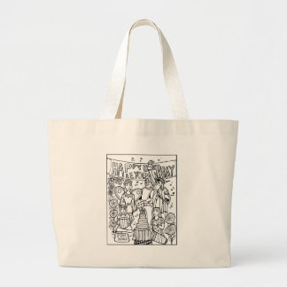Austin Birthday Line Art Design Large Tote Bag