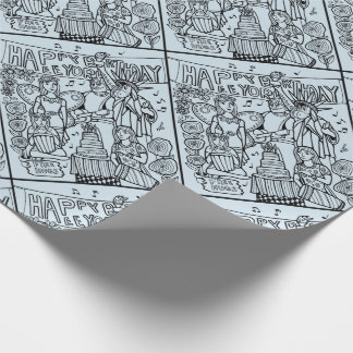 Austin Birthday Line Art Design Wrapping Paper
